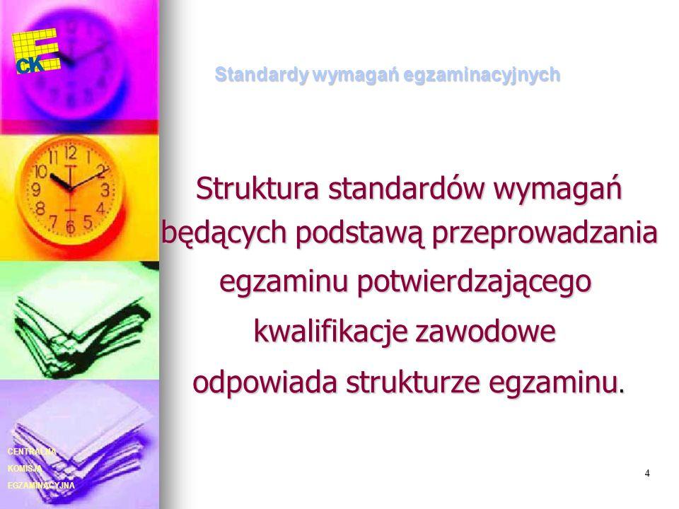 EGZAMINACYJNA CENTRALNA KOMISJA 4 Standardy wymagań egzaminacyjnych Struktura standardów wymagań będących podstawą przeprowadzania egzaminu potwierdza