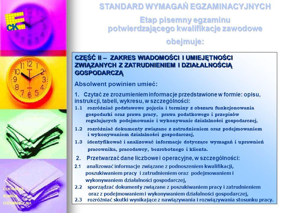 EGZAMINACYJNA CENTRALNA KOMISJA 7 CZĘŚĆ II – ZAKRES WIADOMOŚCI I UMIEJĘTNOŚCI ZWIĄZANYCH Z ZATRUDNIENIEM I DZIAŁALNOŚCIĄ GOSPODARCZĄ Absolwent powinie