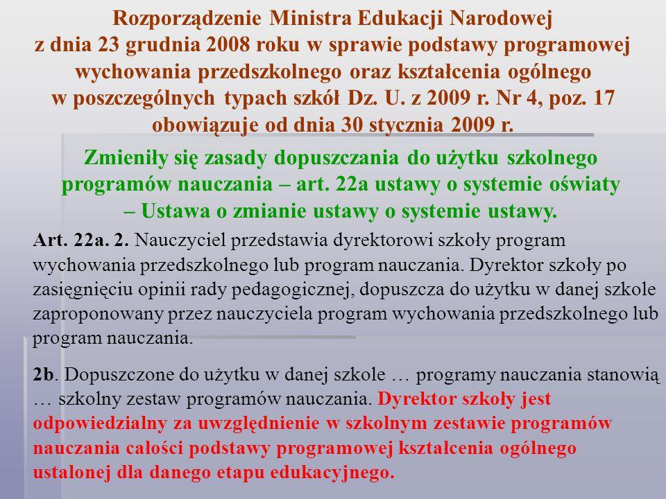 Rozporządzenie Ministra Edukacji Narodowej z dnia 23 grudnia 2008 roku w sprawie podstawy programowej wychowania przedszkolnego oraz kształcenia ogóln