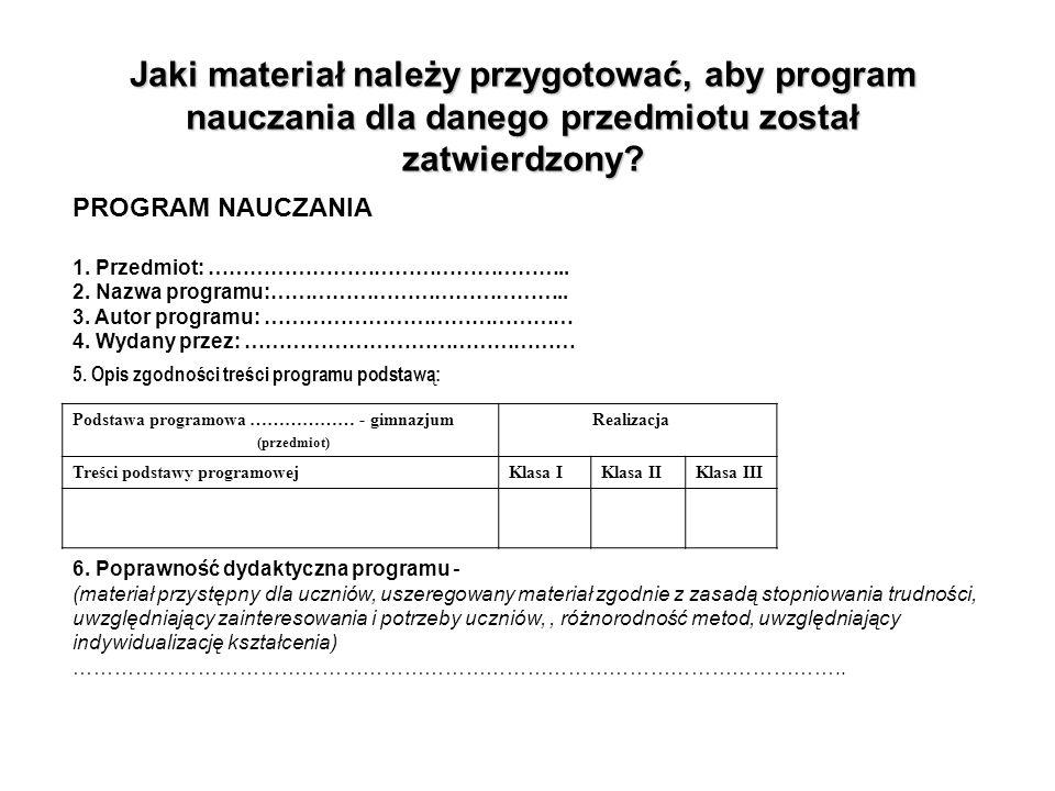 Jaki materiał należy przygotować, aby program nauczania dla danego przedmiotu został zatwierdzony? PROGRAM NAUCZANIA 1. Przedmiot: ……………………………………………..