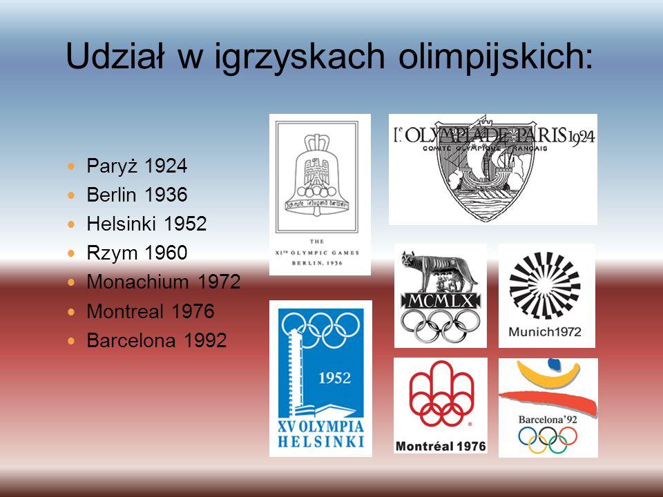 Udział w igrzyskach olimpijskich: Paryż 1924 Berlin 1936 Helsinki 1952 Rzym 1960 Monachium 1972 Montreal 1976 Barcelona 1992