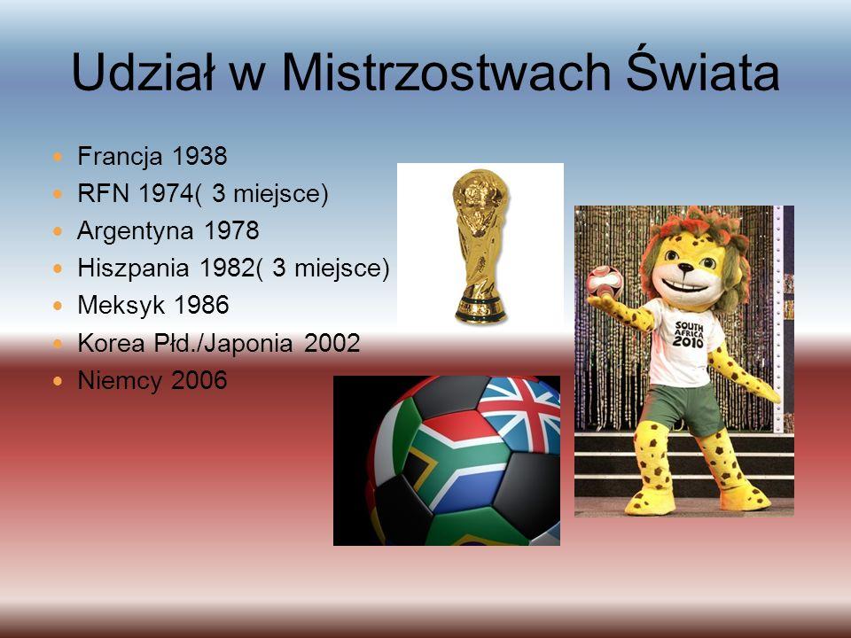 Udział w Mistrzostwach Świata Francja 1938 RFN 1974( 3 miejsce) Argentyna 1978 Hiszpania 1982( 3 miejsce) Meksyk 1986 Korea Płd./Japonia 2002 Niemcy 2006