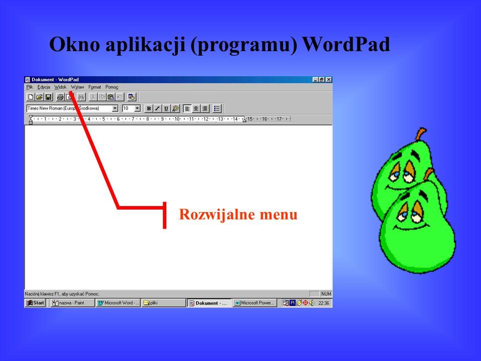 Okno aplikacji (programu) WordPad Rozwijalne menu