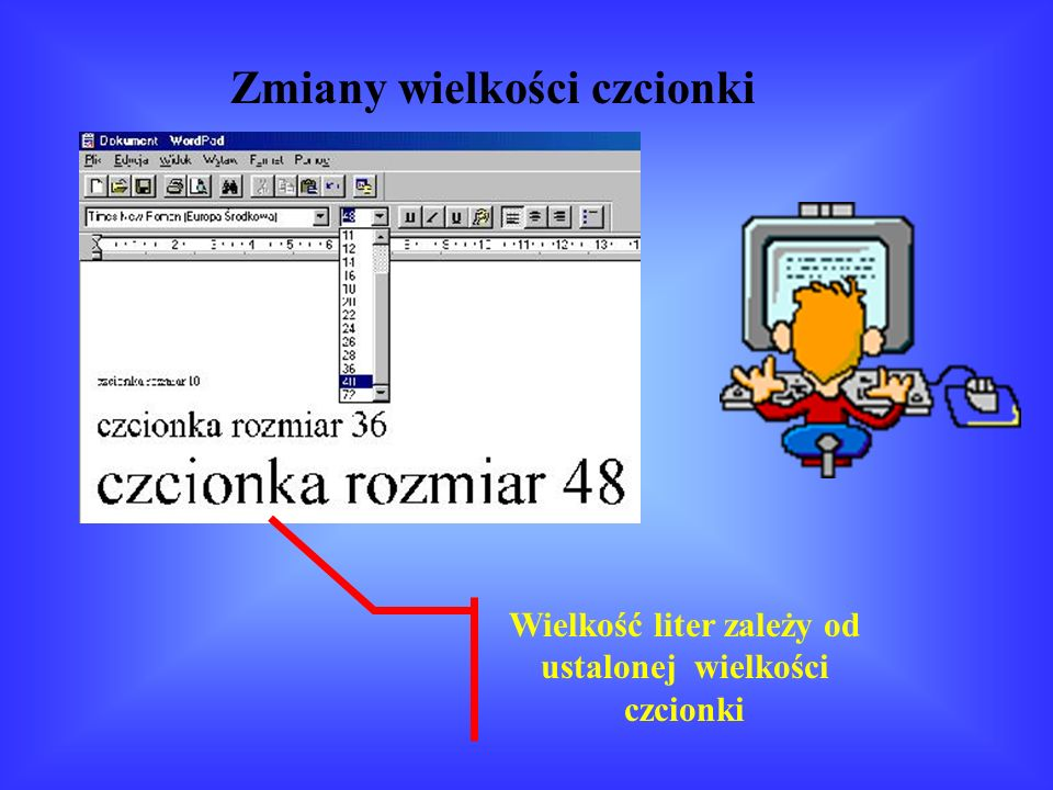 Jeśli zdanie jest za długie i nie mieści się w jednej linijce, komputer sam dokona przeniesienia kursora do następnej. Podobnie jest ze stroną. Jeśli