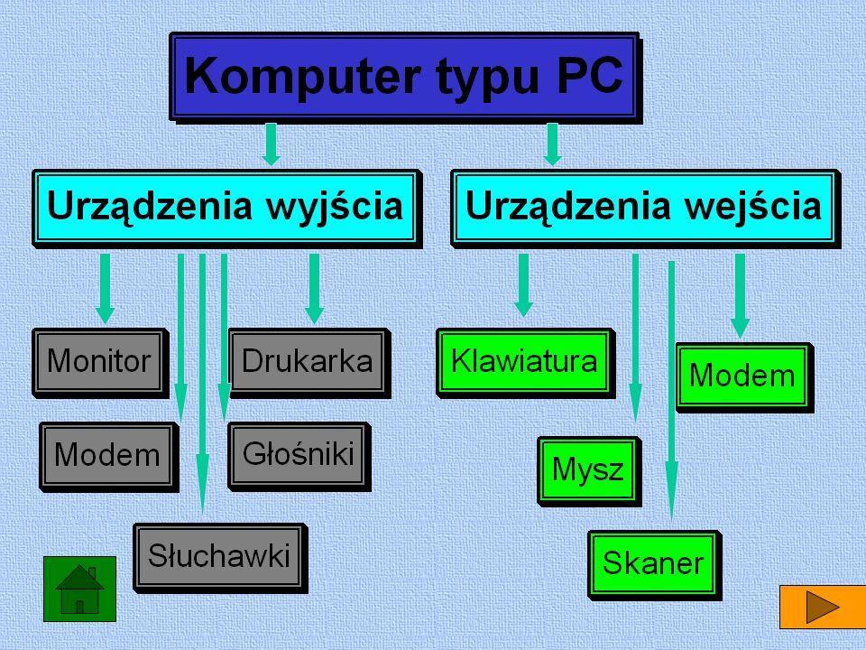 Wprowadzaniem danych zajmują się urządzenia wejścia np. mysz lub klawiatura, procesor i oprogramowanie przetwarzają dane, a efekt tej pracy jest zwrac