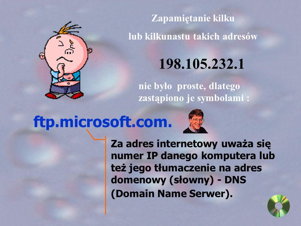 Wiadomość przekazywana drogą Internetu musi być zaopatrzona w adres IP. 198.105.232.1 Adres zapisywany jest w formie czterech liczb, oddzielonych od s