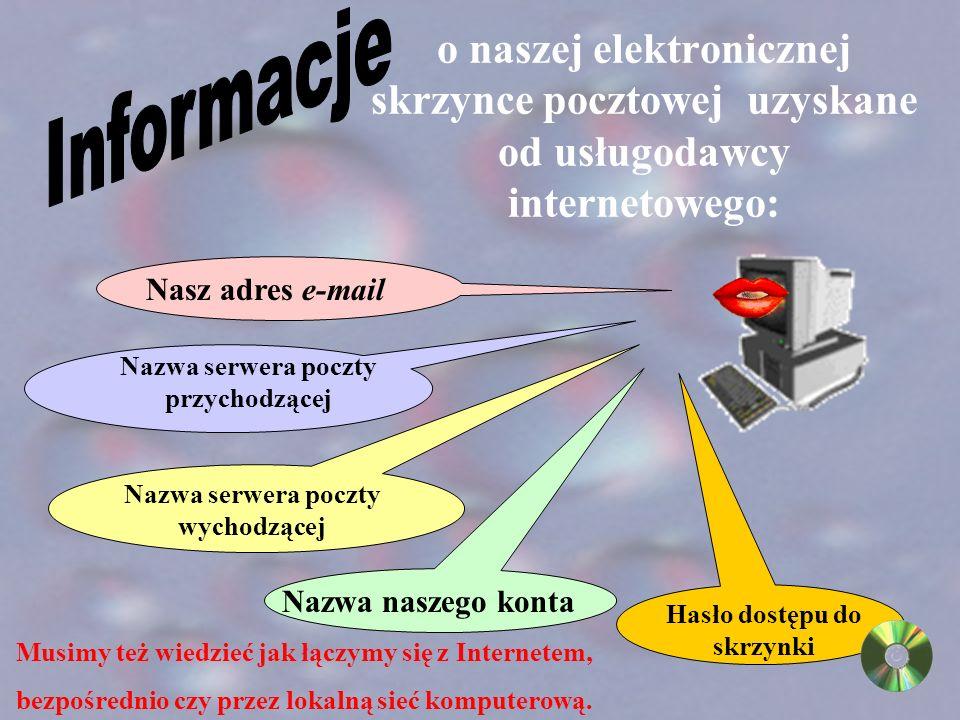 Przekazujemy informacje o naszej elektronicznej skrytce pocztowej naszemu komputerowi.