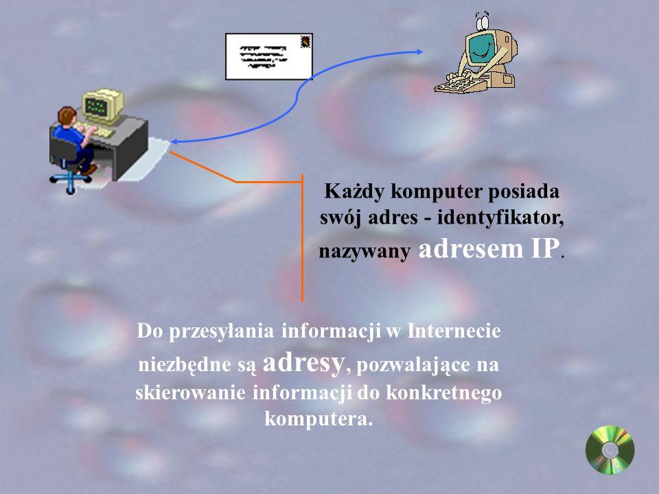 odpowiada za przesyłanie wiadomości (Internet Protocol IP) sprawdza poprawność przesyłanych danych (Transmission Control Protocol TCP) przekształcają odbierane dane na postać zrozumiałą dla użytkownika (protokoły aplikacji WWW, FTP,Telnet, Archie)