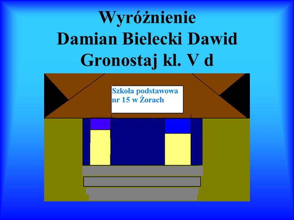Wyróżnienie Damian Bielecki Dawid Gronostaj kl. V d