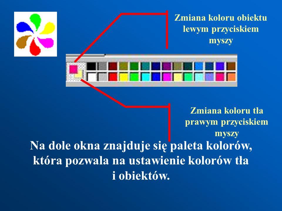 Przybornik z narzędziami Zaznaczanie obszaru do skopiowania, wycięcia, itp. Gumka Kałamarz - wypełnianie kolorem Pipeta - pobieranie koloru Lupa Pędze