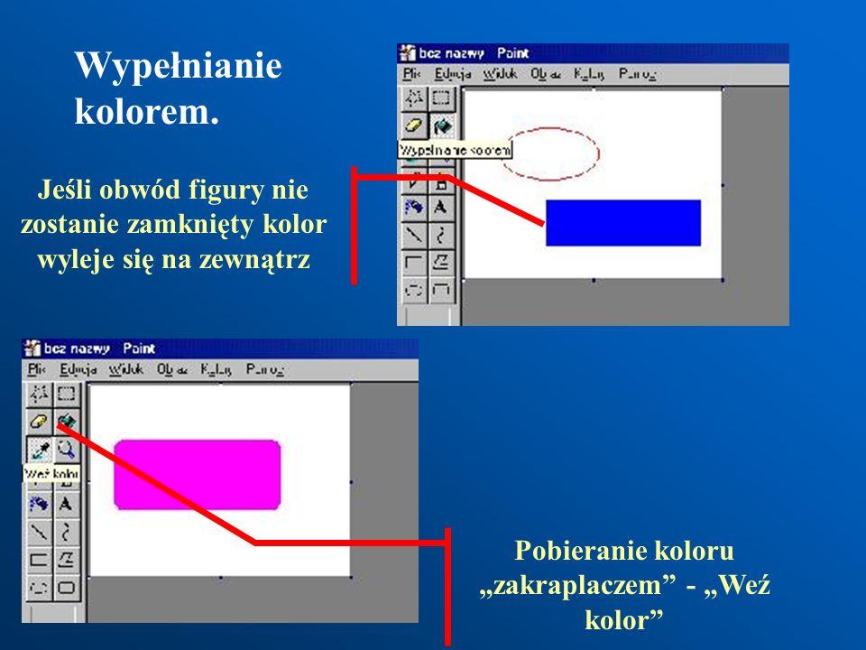 Na dole okna znajduje się paleta kolorów, która pozwala na ustawienie kolorów tła i obiektów. Zmiana koloru obiektu lewym przyciskiem myszy Zmiana kol