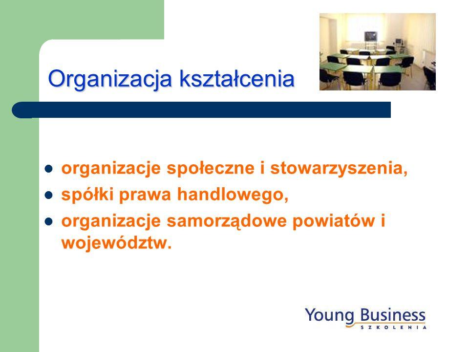 Organizacja kształcenia organizacje społeczne i stowarzyszenia, spółki prawa handlowego, organizacje samorządowe powiatów i województw.