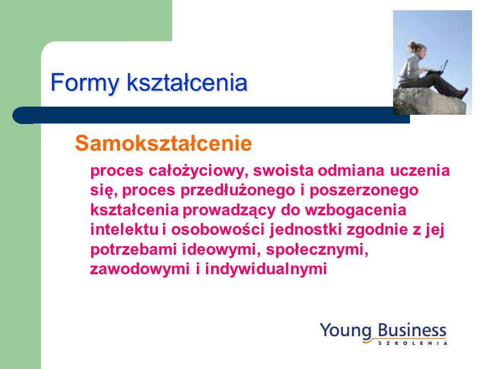 Formy kształcenia Samokształcenie proces całożyciowy, swoista odmiana uczenia się, proces przedłużonego i poszerzonego kształcenia prowadzący do wzbog