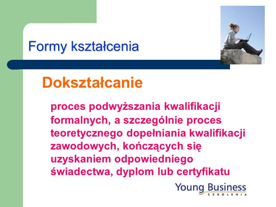 Formy kształcenia Dokształcanie proces podwyższania kwalifikacji formalnych, a szczególnie proces teoretycznego dopełniania kwalifikacji zawodowych, k
