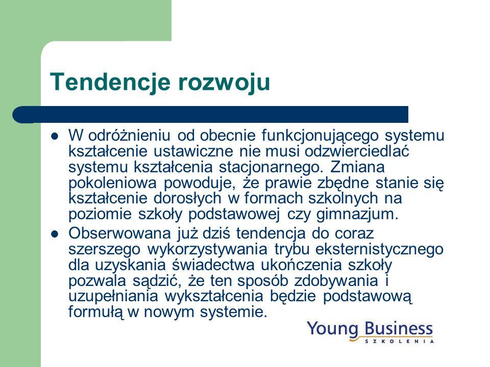Tendencje rozwoju W odróżnieniu od obecnie funkcjonującego systemu kształcenie ustawiczne nie musi odzwierciedlać systemu kształcenia stacjonarnego. Z