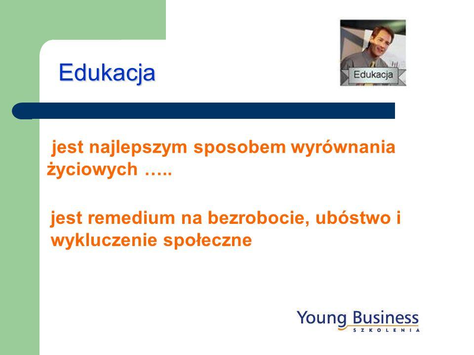 Edukacja jest najlepszym sposobem wyrównania życiowych ….. jest remedium na bezrobocie, ubóstwo i wykluczenie społeczne