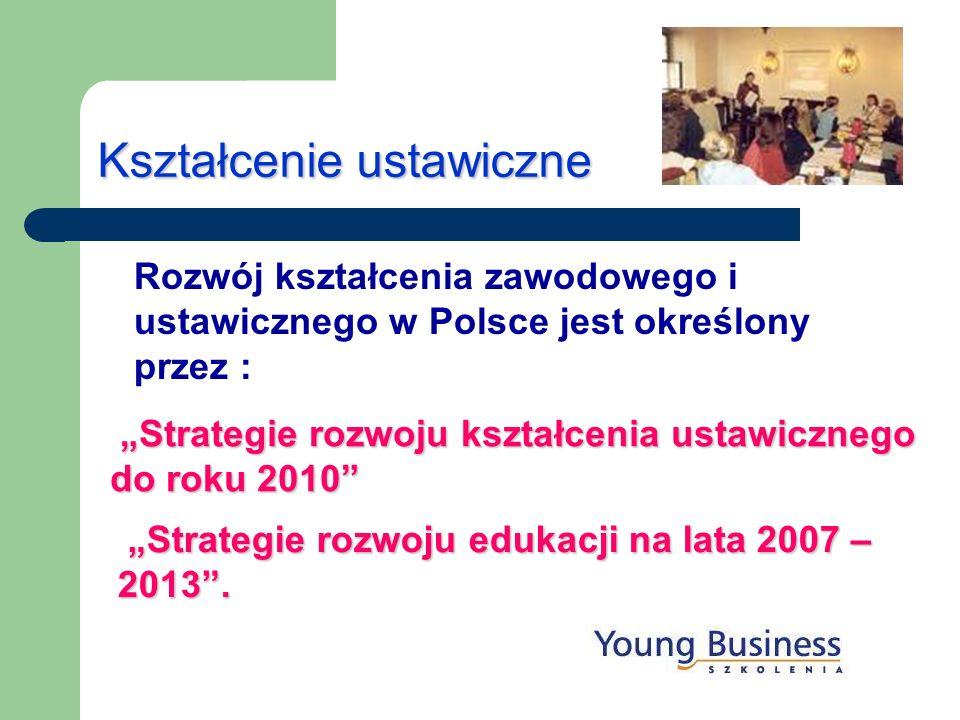 Kształcenie ustawiczne Rozwój kształcenia zawodowego i ustawicznego w Polsce jest określony przez : Strategie rozwoju edukacji na lata 2007 – 2013. St