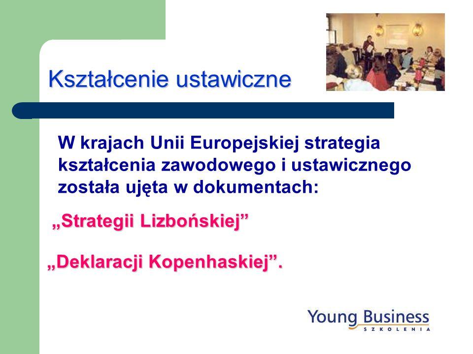 Kształcenie ustawiczne W krajach Unii Europejskiej strategia kształcenia zawodowego i ustawicznego została ujęta w dokumentach: Strategii Lizbońskiej