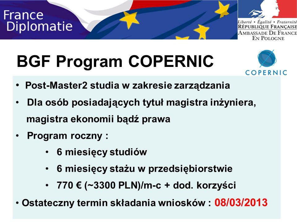 BGF Program COPERNIC Post-Master2 studia w zakresie zarządzania Dla osób posiadających tytuł magistra inżyniera, magistra ekonomii bądź prawa Program