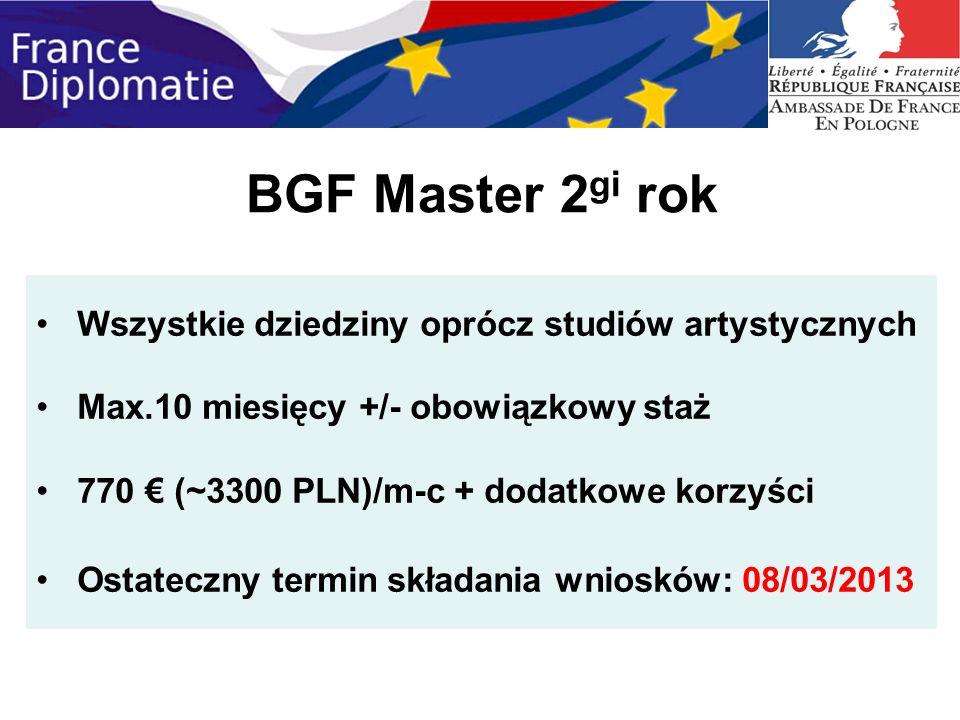BGF Master 2 gi rok Wszystkie dziedziny oprócz studiów artystycznych Max.10 miesięcy +/- obowiązkowy staż 770 (~3300 PLN)/m-c + dodatkowe korzyści Ost