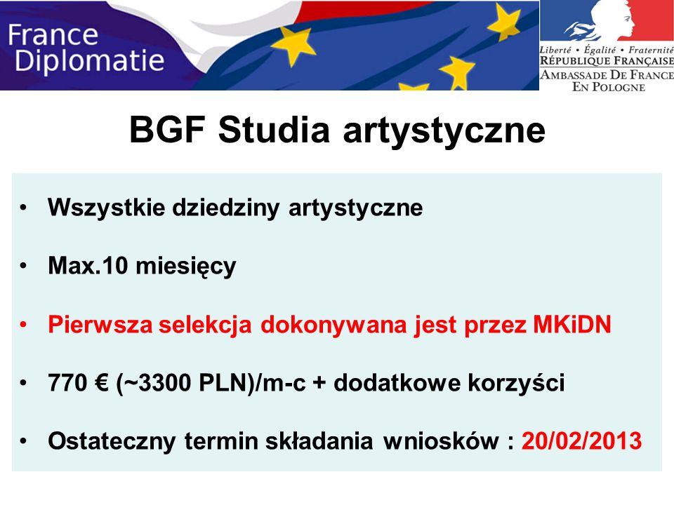 BGF Studia artystyczne Wszystkie dziedziny artystyczne Max.10 miesięcy Pierwsza selekcja dokonywana jest przez MKiDN 770 (~3300 PLN)/m-c + dodatkowe k