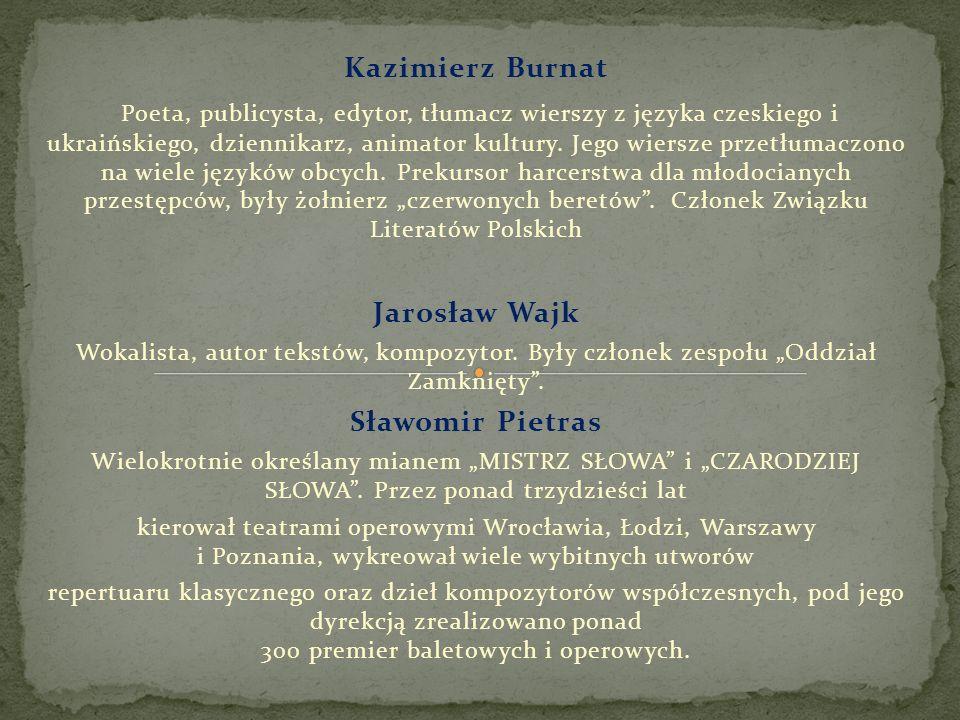 Kazimierz Burnat Poeta, publicysta, edytor, tłumacz wierszy z języka czeskiego i ukraińskiego, dziennikarz, animator kultury. Jego wiersze przetłumacz