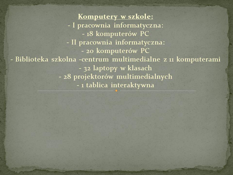 Komputery w szkole: - I pracownia informatyczna: - 18 komputerów PC - II pracownia informatyczna: - 20 komputerów PC - Biblioteka szkolna -centrum mul