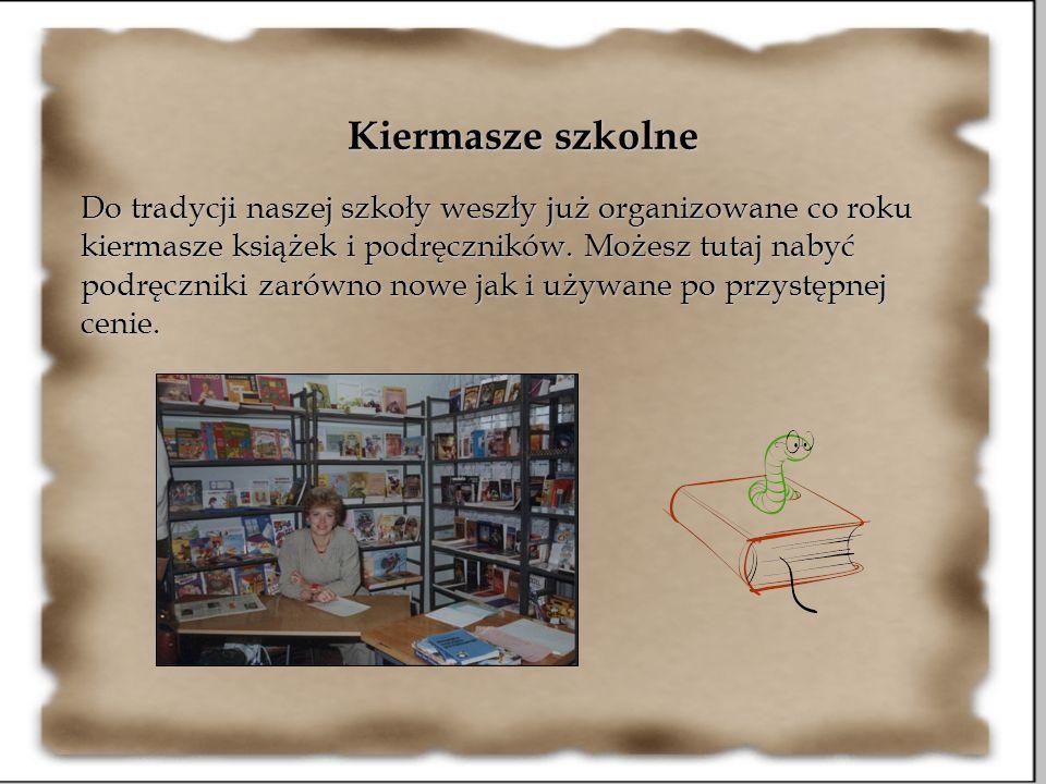 Kiermasze szkolne Do tradycji naszej szkoły weszły już organizowane co roku kiermasze książek i podręczników. Możesz tutaj nabyć podręczniki zarówno n