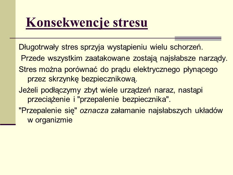 Konsekwencje stresu Długotrwały stres sprzyja wystąpieniu wielu schorzeń. Przede wszystkim zaatakowane zostają najsłabsze narządy. Stres można porówna