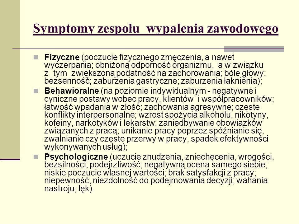 Symptomy zespołu wypalenia zawodowego Fizyczne (poczucie fizycznego zmęczenia, a nawet wyczerpania; obniżoną odporność organizmu, a w związku z tym zw