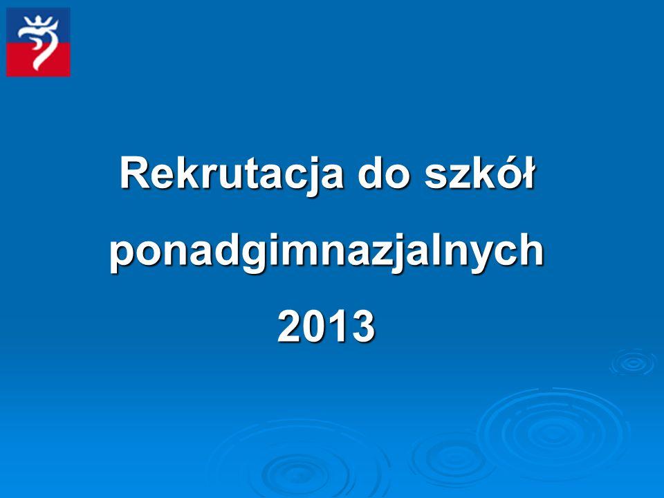 Rekrutacja do szkół ponadgimnazjalnych 2013