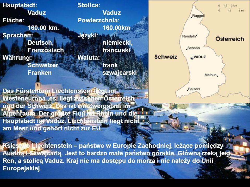 die Flagge (Flaga Liechtenstein) das Wappen (Godło Liechtenstein)