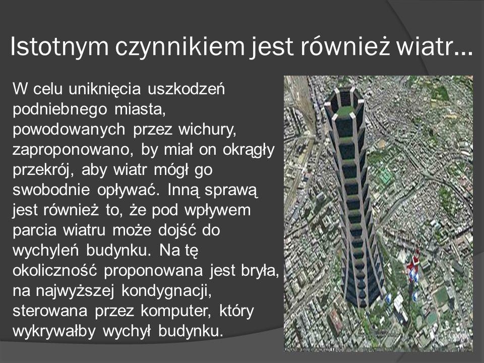 Istotnym czynnikiem jest również wiatr… W celu uniknięcia uszkodzeń podniebnego miasta, powodowanych przez wichury, zaproponowano, by miał on okrągły
