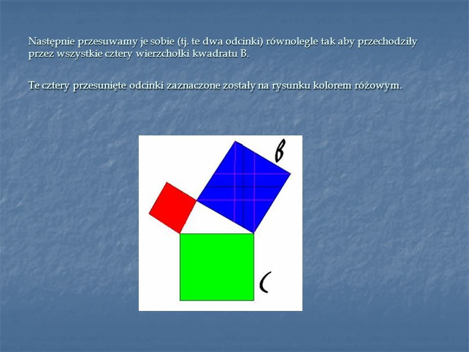 Następnie przesuwamy je sobie (tj. te dwa odcinki) równolegle tak aby przechodziły przez wszystkie cztery wierzchołki kwadratu B. Te cztery przesunięt