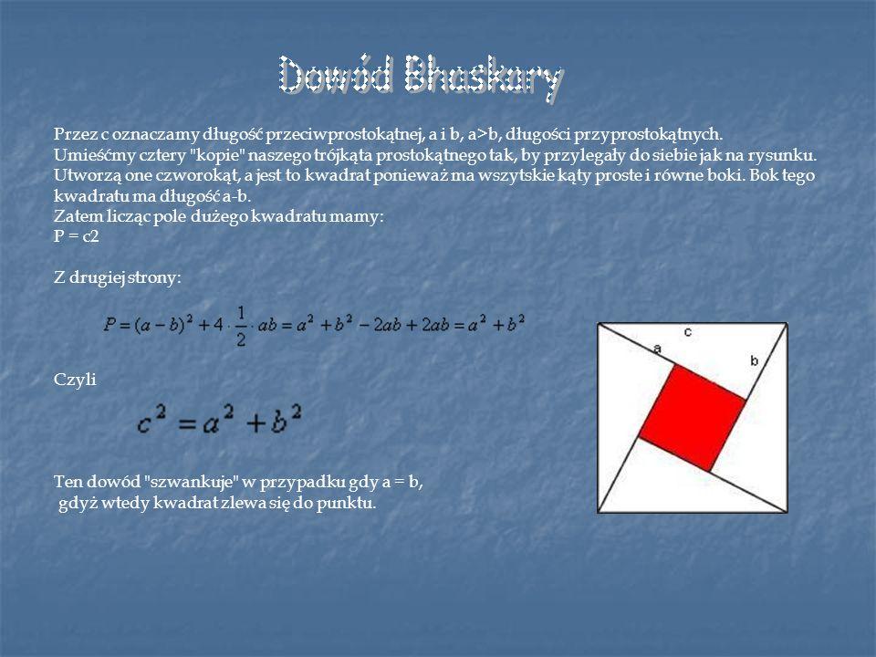 Przez c oznaczamy długość przeciwprostokątnej, a i b, a>b, długości przyprostokątnych. Umieśćmy cztery