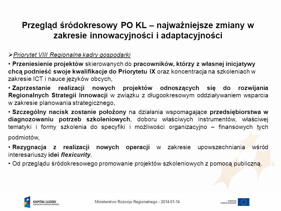 2014-01-14Ministerstwo Rozwoju Regionalnego - Przegląd śródokresowy PO KL – najważniejsze zmiany w zakresie innowacyjności i adaptacyjności Priorytet