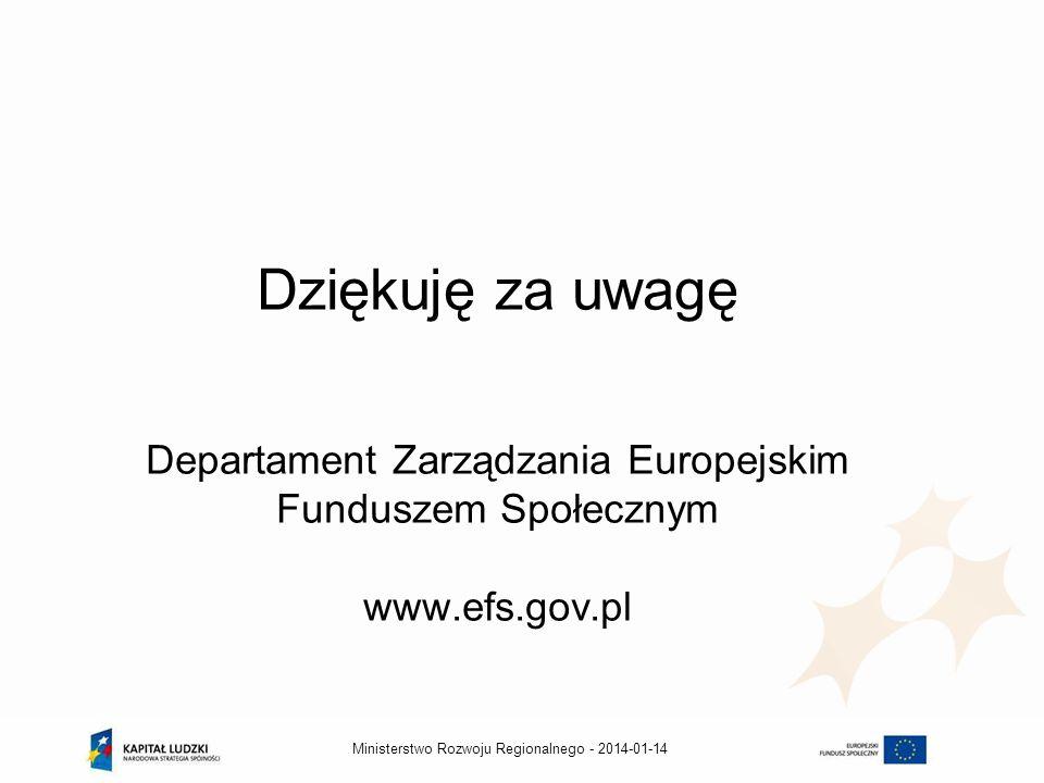 2014-01-14Ministerstwo Rozwoju Regionalnego - Dziękuję za uwagę Departament Zarządzania Europejskim Funduszem Społecznym www.efs.gov.pl