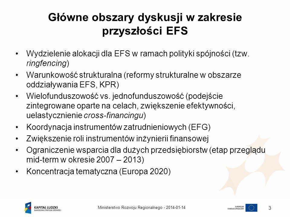 2014-01-14Ministerstwo Rozwoju Regionalnego - 4 CELE STRATEGICZNE UE – Strategia Europa 2020 Stopa zatrudnienia na poziomie 75% populacji w wieku 20-64 lata 3% PKB UE przeznaczane na inwestycje w sferze B+R 20/20/20 – cel w obszarze: –redukcji emisji gazów o 20% (30% jeżeli będą do tego odpowiednie warunki) –zapewnienia pochodzenia 20% energii zużywanej w UE ze źródeł odnawialnych –zmniejszenie zużycia energii o 20% Edukacja - Zmniejszenie odsetka osób przedwcześnie opuszczających system edukacji poniżej 10% oraz zwiększenie powyżej 40% odsetka osób posiadających wykształcenie wyższe Zmniejszenie liczby osób zagrożonych ubóstwem o 20 mln Cztery z pięciu ww.