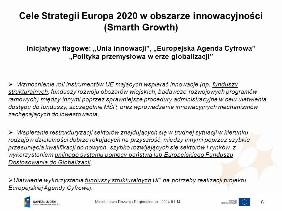 2014-01-14Ministerstwo Rozwoju Regionalnego - 6 Cele Strategii Europa 2020 w obszarze innowacyjności (Smarth Growth) Inicjatywy flagowe: Unia innowacj