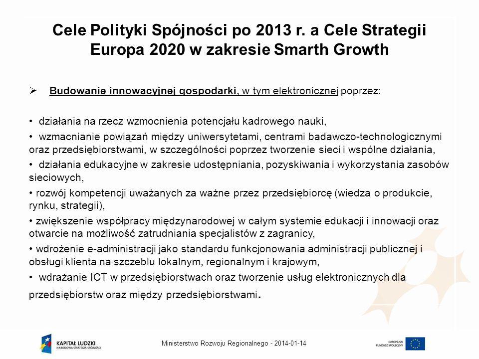 2014-01-14Ministerstwo Rozwoju Regionalnego - Krajowa Strategia Rozwoju Regionalnego (KSSR) na lata 2010-2020 – wsparcie dla transferu wiedzy i RSI KSRR podstawą do planowania działań polityki spójności w latach 2014 -2020 w wymiarze regionalnym Przedmiotem polityki regionalnej w zakresie tworzenia innowacji będzie stymulowanie wzrostu gospodarczego ośrodków regionalnych przez wspieranie jak najlepszego przepływu wiedzy i wykorzystanie osiągnięć naukowych, co przełoży się na zwiększenie podaży i popytu na innowacje, Działania polityki regionalnej na szczeblu regionalnym w zakresie innowacyjności odbywać się będą w ścisłym powiązaniu z regionalnymi strategiami innowacji (RSI).