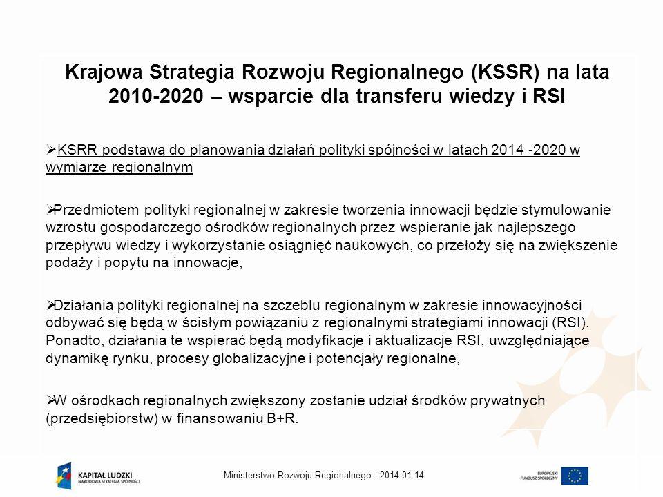 2014-01-14Ministerstwo Rozwoju Regionalnego - Krajowa Strategia Rozwoju Regionalnego (KSSR) na lata 2010-2020 – wsparcie dla transferu wiedzy i RSI KS