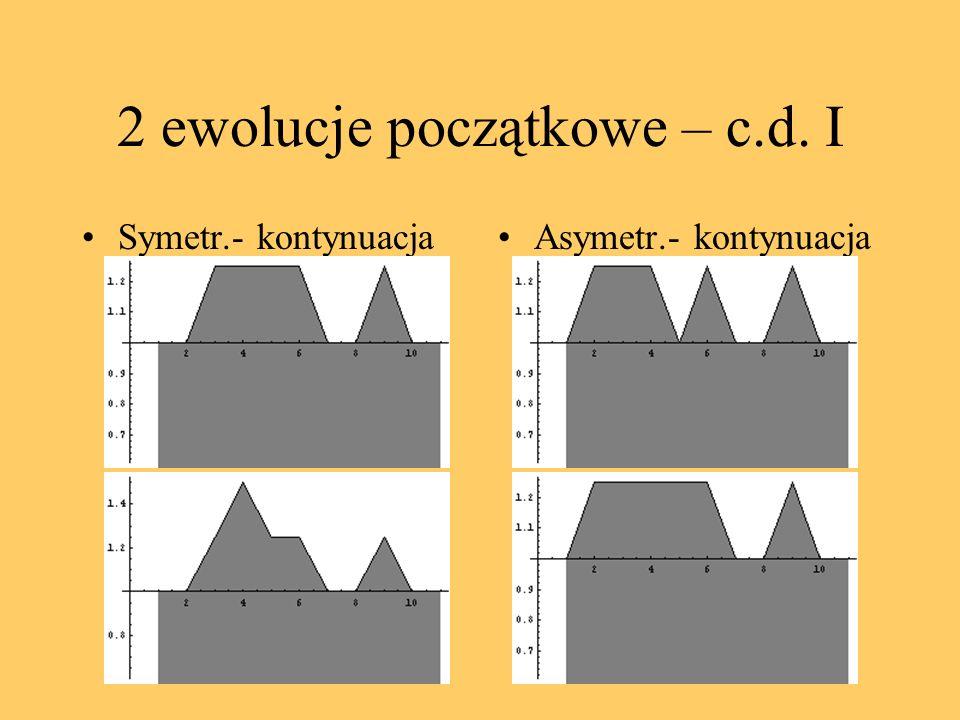 2 ewolucje początkowe – c.d. I Symetr.- kontynuacjaAsymetr.- kontynuacja