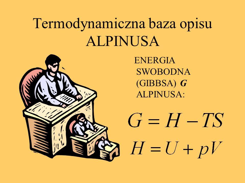 Termodynamiczna baza opisu ALPINUSA ENERGIA SWOBODNA (GIBBSA) G ALPINUSA: