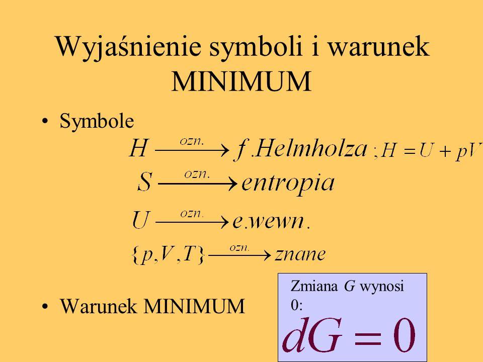 Wyjaśnienie symboli i warunek MINIMUM Symbole Warunek MINIMUM Zmiana G wynosi 0:
