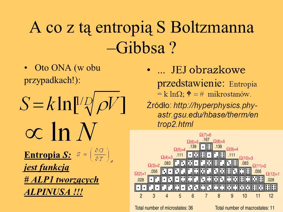 A co z tą entropią S Boltzmanna –Gibbsa .