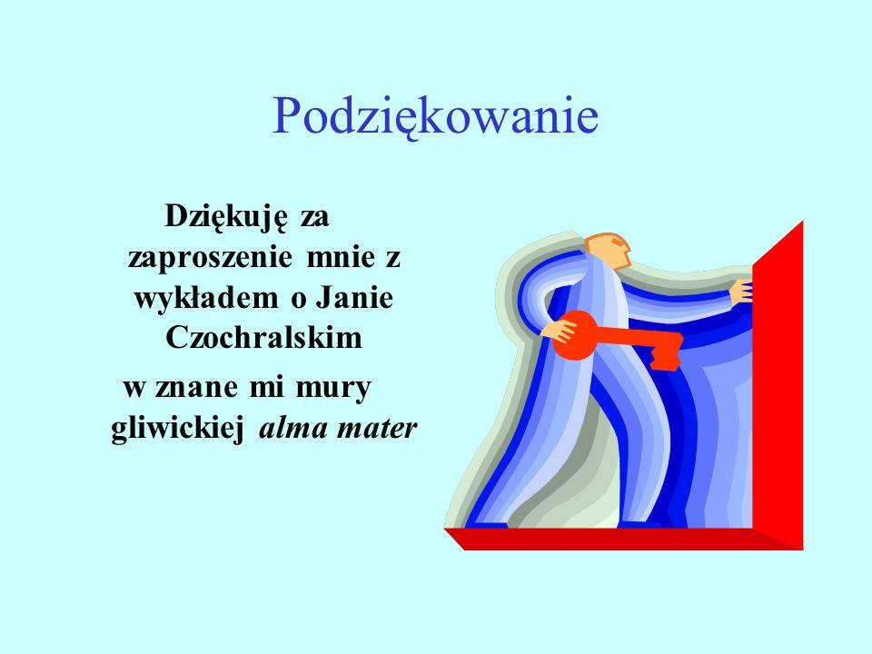 Podziękowanie Dziękuję za zaproszenie mnie z wykładem o Janie Czochralskim w znane mi mury gliwickiej alma mater