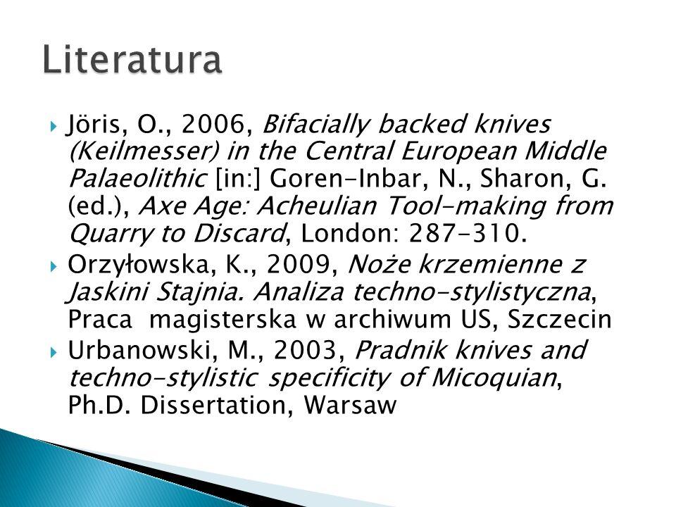 Jöris, O., 2006, Bifacially backed knives (Keilmesser) in the Central European Middle Palaeolithic [in:] Goren-Inbar, N., Sharon, G. (ed.), Axe Age: A