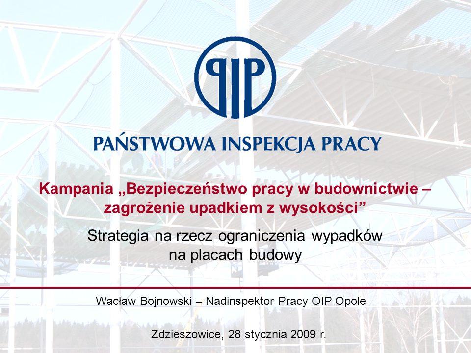 Kampania Bezpieczeństwo pracy w budownictwie – zagrożenie upadkiem z wysokości Strategia na rzecz ograniczenia wypadków na placach budowy Wacław Bojnowski – Nadinspektor Pracy OIP Opole Zdzieszowice, 28 stycznia 2009 r.