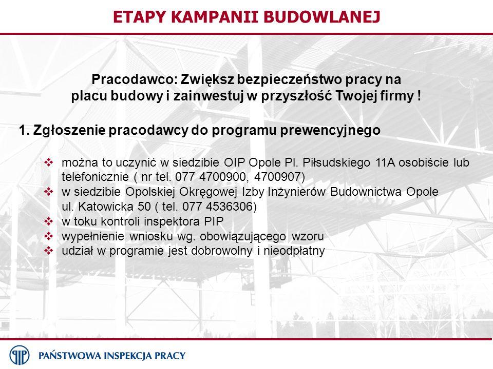 ETAPY KAMPANII BUDOWLANEJ Pracodawco: Zwiększ bezpieczeństwo pracy na placu budowy i zainwestuj w przyszłość Twojej firmy ! 1. Zgłoszenie pracodawcy d