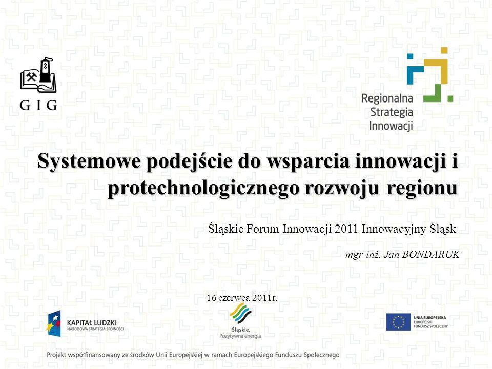 Systemowe podejście do wsparcia innowacji i protechnologicznego rozwoju regionu 16 czerwca 2011r. mgr inż. Jan BONDARUK Śląskie Forum Innowacji 2011 I